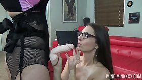 Slut Mind Mink puts on strapon and fucks nasty girlfriend concerning mouth and pussy
