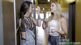 Sextractive chick Zoey Taylor puts on strapon and fucks adorable lesbian girlfriend