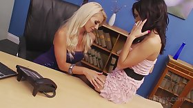 Blonde bombshell Sami J and sizzling sensation Gemma Massey have a lesbian encounter in the office.